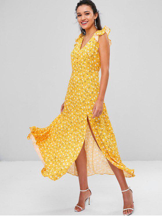 Minúsculo floral fenda cortada vestido - Marrom Dourado M
