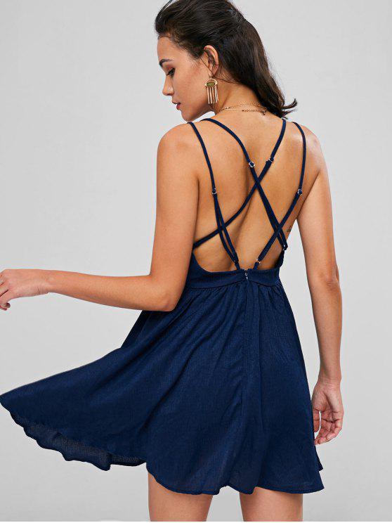 Rückenfreies Cami Sommerkleid - Dunkel Blau L