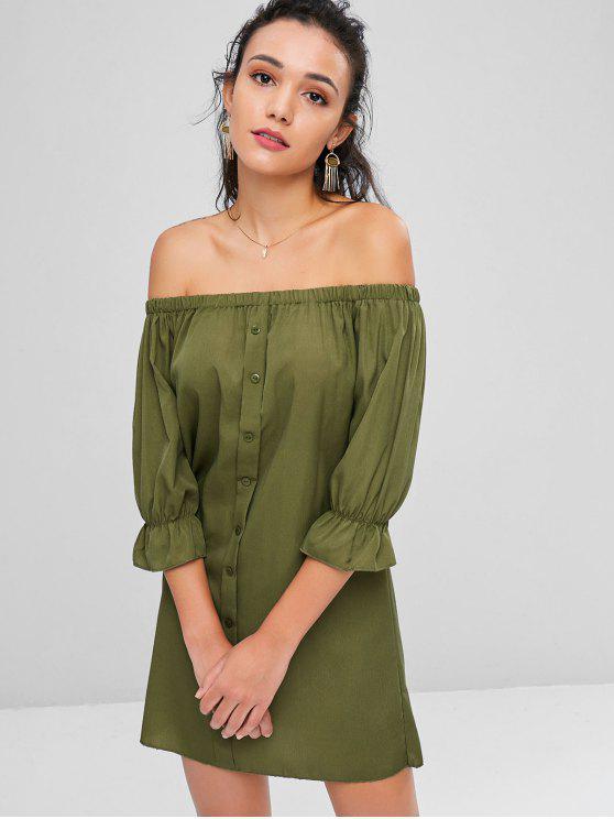 Botones de Hombro Vestido Casual - Ejercito Verde XL
