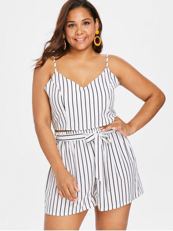 trendy Plus Size Striped Cami Shorts Set - WHITE 1X