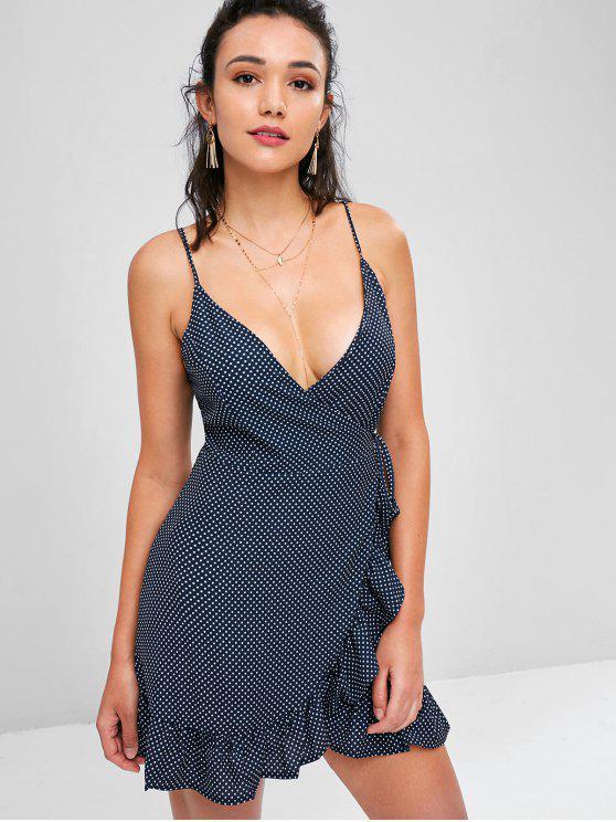 latest Ruffles Polka Dot Wrap Dress - BLACK L