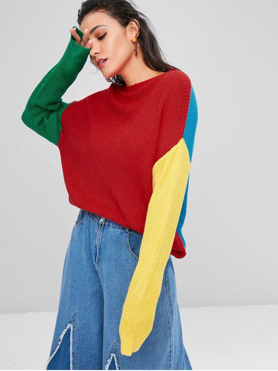 Slash Neck Contrast Sweater - Multi L