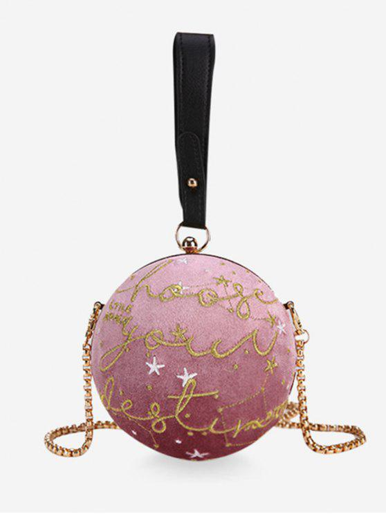 hot Embroidery Round Shaped Chic Crossbody Bag - PINK