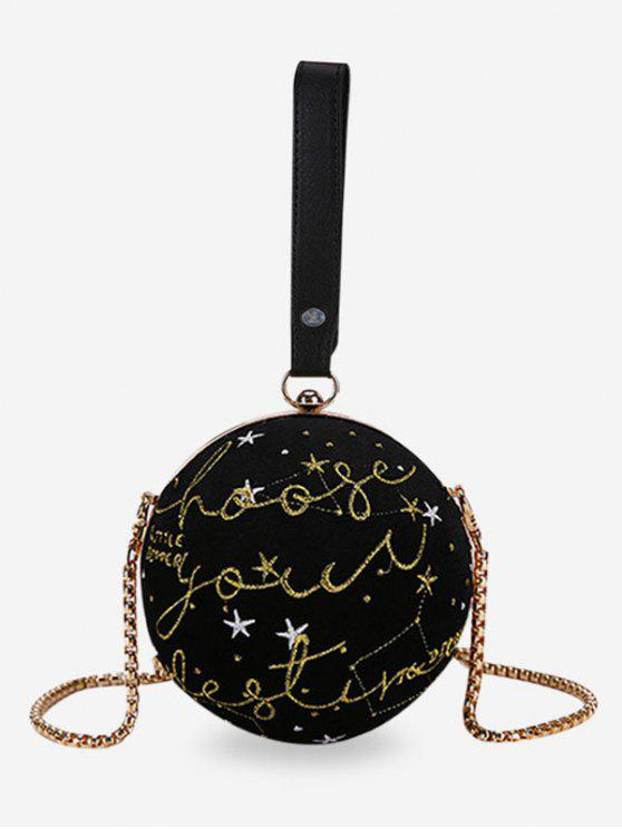 sale Embroidery Round Shaped Chic Crossbody Bag - BLACK