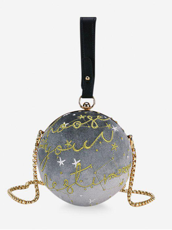 womens Embroidery Round Shaped Chic Crossbody Bag - GRAY