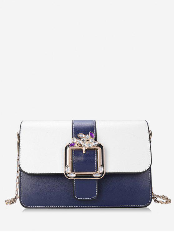 women's Crystal Color Block Flap Chain Crossbody Bag - BLUE