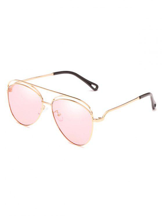 womens Anti Fatigue Hollow Out Frame Oversized Sunglasses - PIG PINK