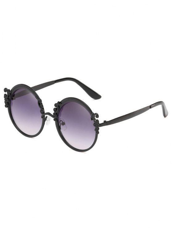 ladies Anti Fatigue Oversized Geometric Round Sunglasses - LIGHT SLATE GRAY