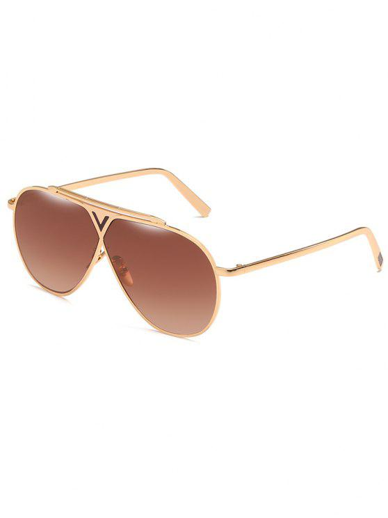 ladies Anti Fatigue Metal Frame Thin Shield Sunglasses - BROWN