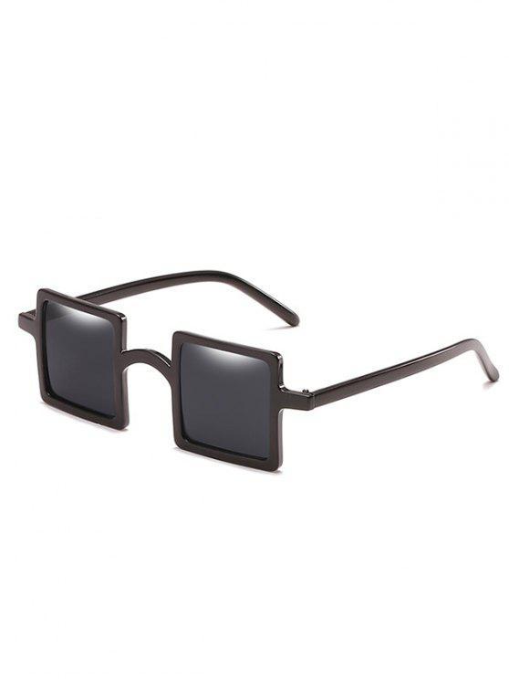 ladies Retro Squared Lens Novelty Sunglasses - BLACK