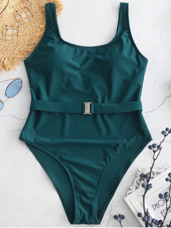 Hohe Schlitz U Hals Rückenfreier Badeanzug - Mittleres Meer Grün L