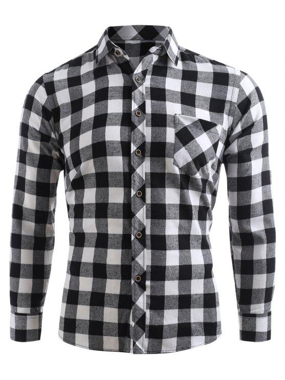 Chemise à Carreau Imprimé Boutonnée avec Poche - Noir XL