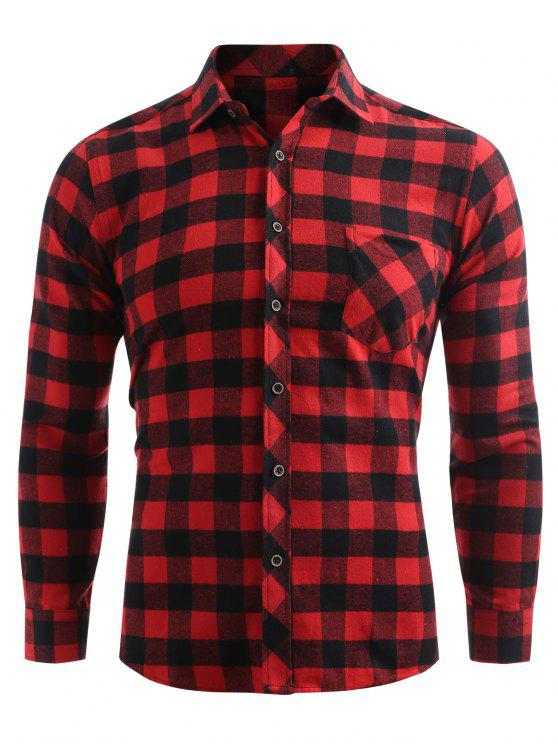fashion Check Print Pocket Button Up Shirt - CHESTNUT RED S