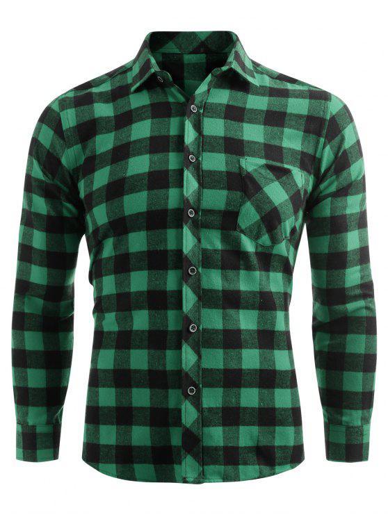 women Check Print Pocket Button Up Shirt - SEA GREEN XL