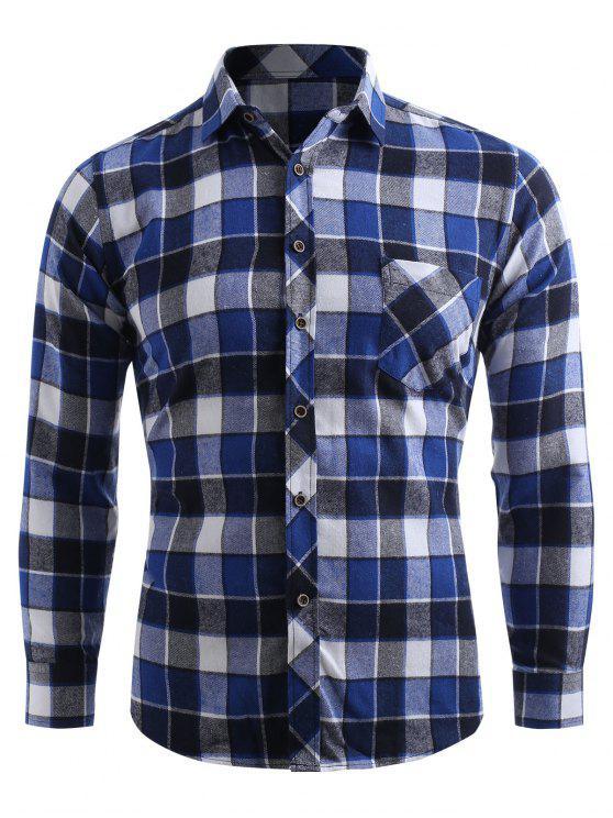 جيب الصدر زر حتى قميص فحص - قيق أزرق XS