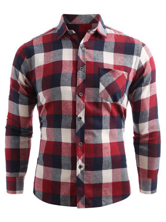 جيب الصدر زر حتى قميص فحص - كستنائي أحمر XS