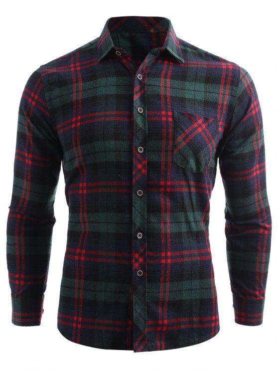 Kariertes Druck Tasche Knopf Oben Shirt - Meergrün M