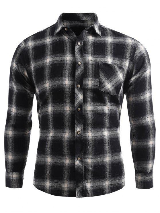 Kariertes Druck Tasche Knopf Oben Shirt - Dunkelgrau XS
