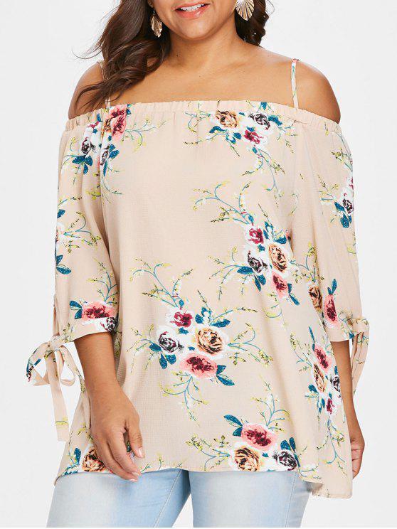 Übergröße Bluse mit Schulterfrei und Blumendruck - Aprikose 2XL