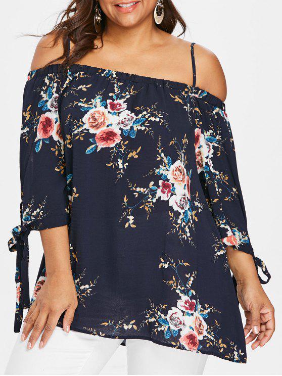 Übergröße Bluse mit Schulterfrei und Blumendruck - Schwarzblau 3XL