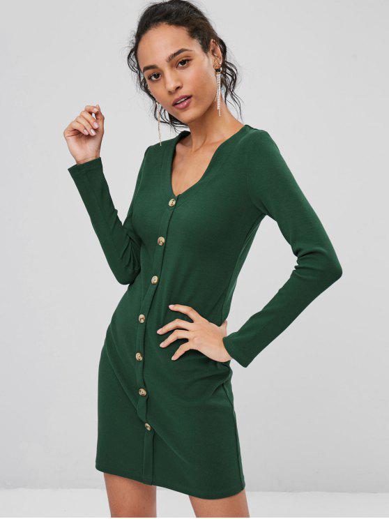 Geripptes Langarm Bodycon Kleid - Mittleres Meer Grün S