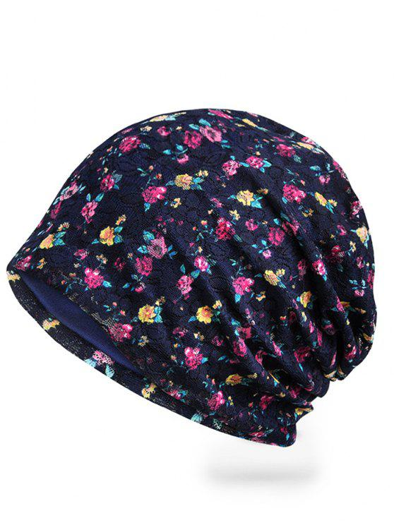 Florescente Floral Lace Slouch Gorro - Azul Real