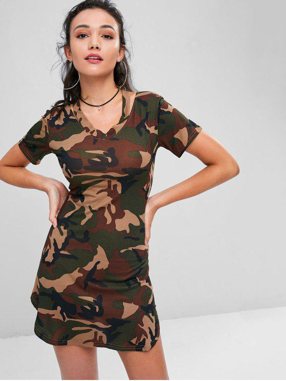 latest Camo Print Slash V Neck Tee Dress - ACU CAMOUFLAGE L