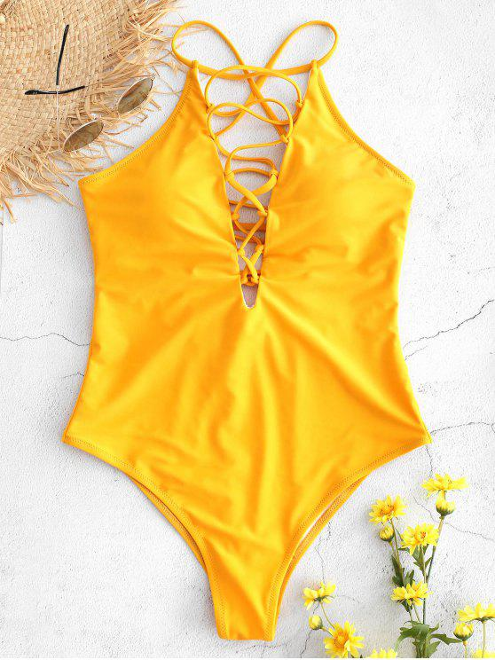 Schnürung Plunge Einteiliger Badeanzug - Niedliches Gummi Gelb M