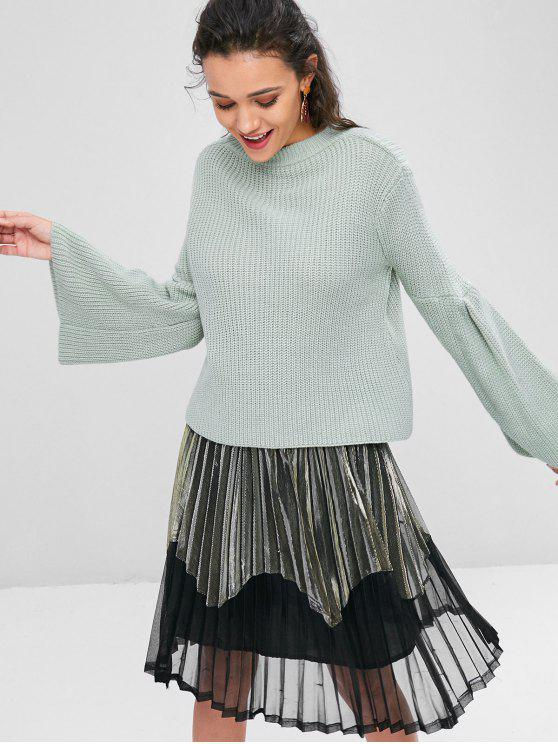 lady Chunky Bell Sleeve Sweater - BLUE GREEN M