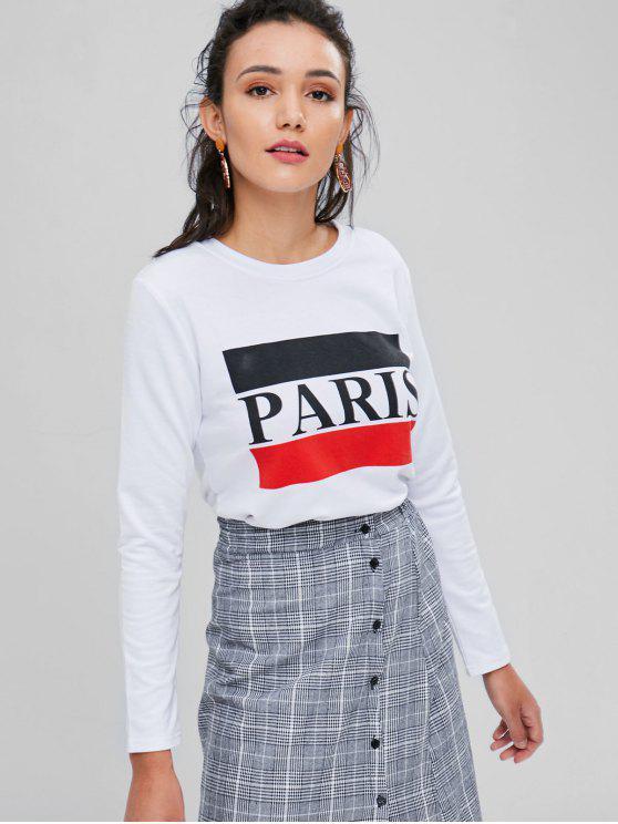 Haut Graphique à Imprimé Contraste de Paris - Blanc S