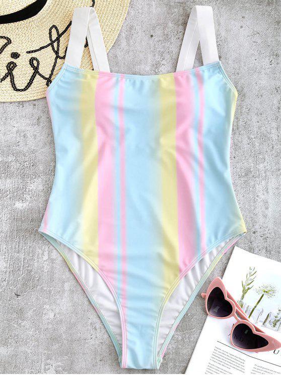 Costume Da Bagno A Righe Colorate Con Scollo Quadrato - Multi Colori L
