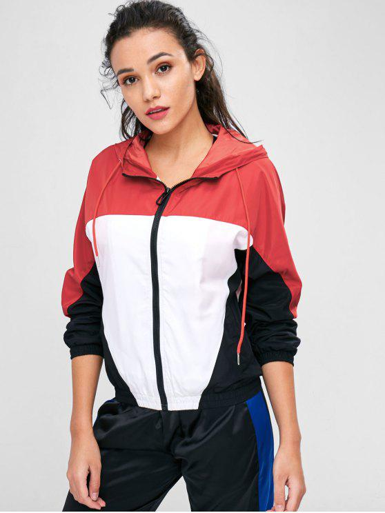 trendy Color Block Windbreaker Jacket - MULTI S