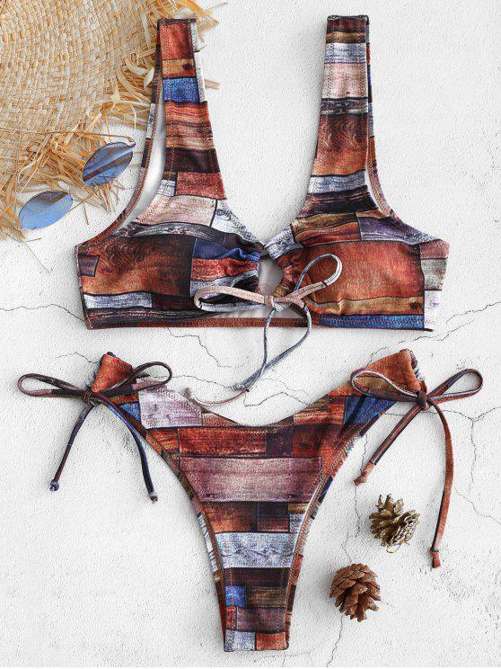 Patchwork Riemchen Tank Bikini Set - Multi M