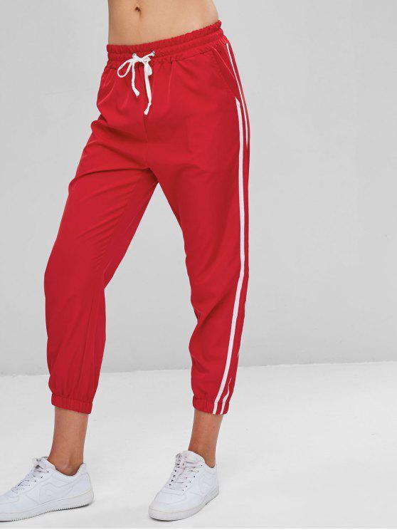 Pantaloni Da Jogging A Contrasto - Rosso Lava  L