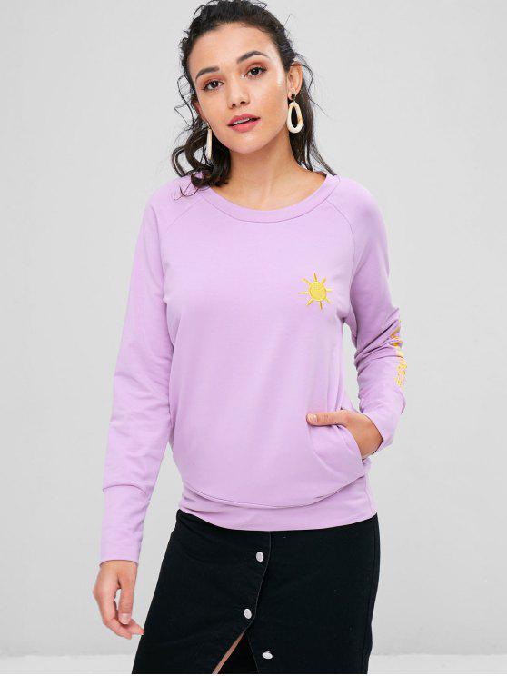 women Cloud Lightning Sun Embroidered Sweatshirt - MAUVE M