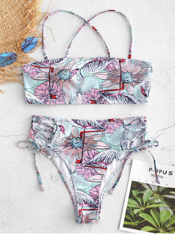 women Floral Flamingo Print Lace Up Bikini Set - MULTI S