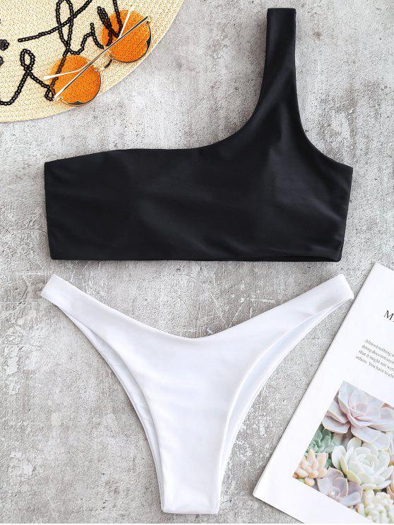 sale One Shoulder Two Tone Bikini - BLACK L