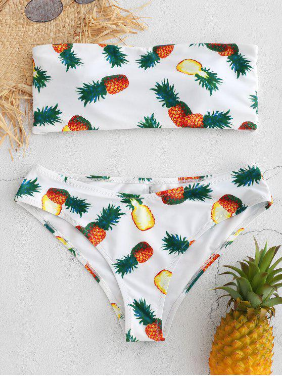 outfit Pineapple Print Bandeau Bikini - WHITE L