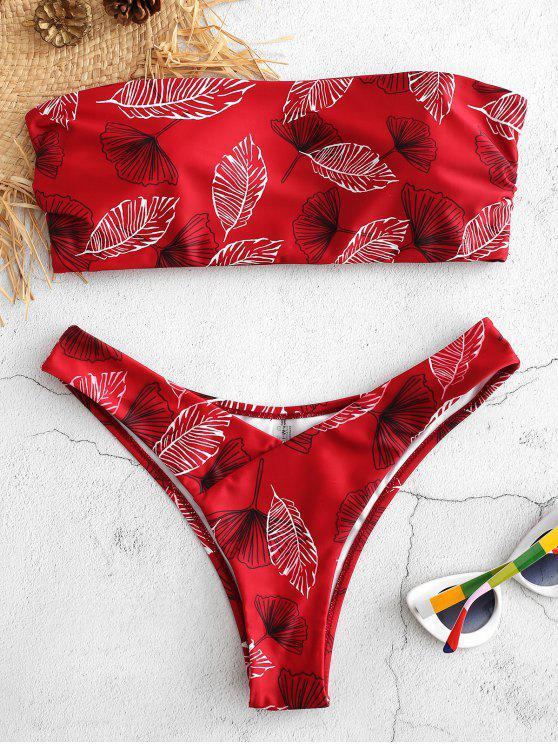 chic Leaf Print Bandeau Bikini Set - CRANBERRY M