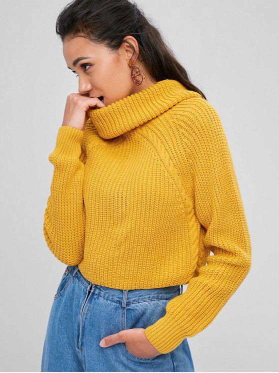 shops ZAFUL Cable Knit Turtleneck Cropped Sweater - GOLDEN BROWN S