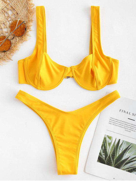 outfit ZAFUL Underwire Balconette Bikini Set - GOLDEN BROWN L