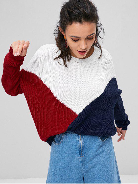 Farbblock Tricolor Oversize Pullover - Multi L