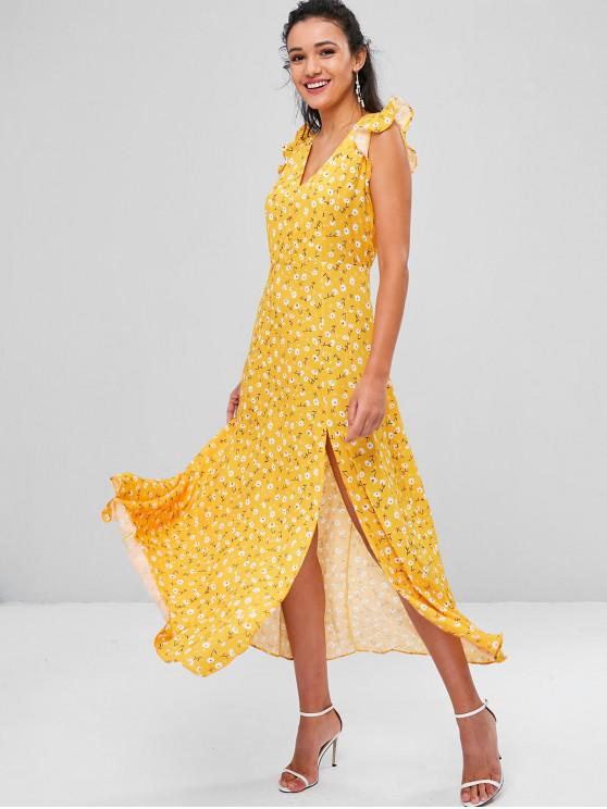 Minúsculo floral fenda cortada vestido - Marrom Dourado S