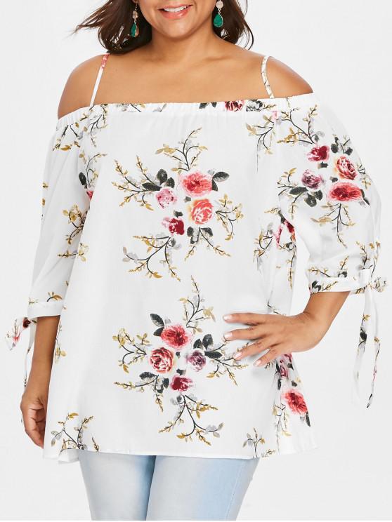 online Plus Size Floral Cold Shoulder Blouse - WHITE 3XL
