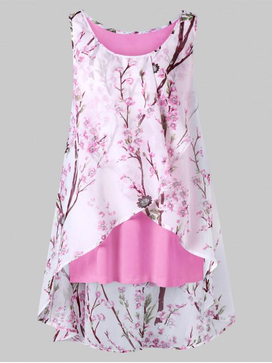 ladies Plus Size Tiny Floral Overlap Sleeveless Top - LIGHT PINK 4XL