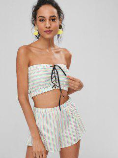 Stripes Lace Up Shorts Set - Multi M