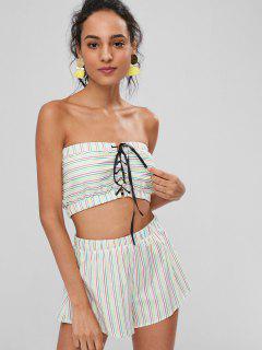 Stripes Lace Up Shorts Set - Multi L