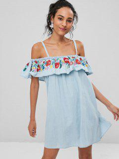 Embroidered Cold Shoulder Denim Dress - Light Blue S