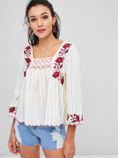 Square Neck Embroidered Peasant Top - Beige M