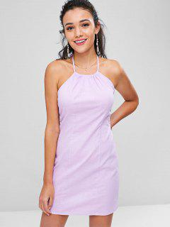 Halter Tie Back Bodycon Mini Sun Dress - Mauve S